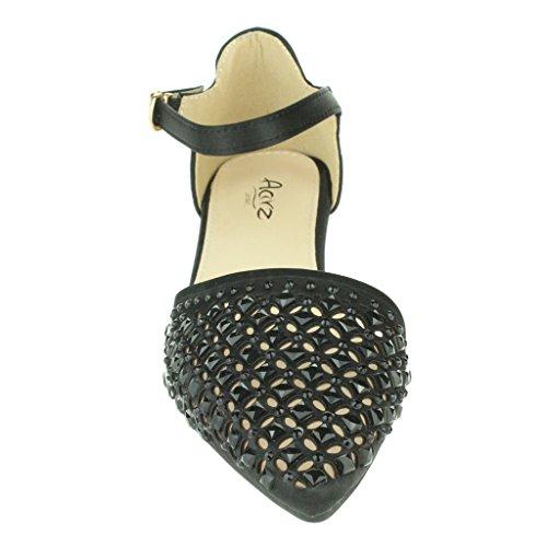 Femmes Dames Pointy Diamante Ballerine Flats Sangle de cheville Soir Fête Mariage De Mariée Prom Casual Sandales Chaussures Taille Noir