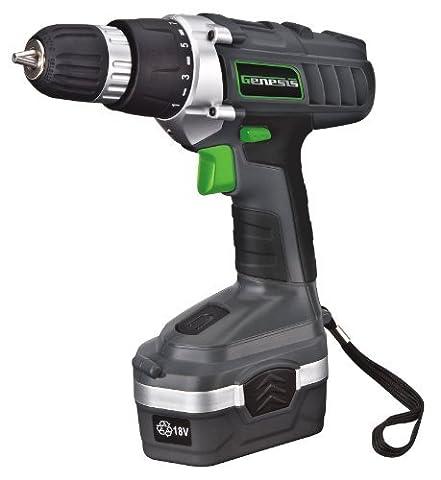 Genesis GCD18BK 18v Cordless Drill/Driver Kit, Grey, 3/8-inch by Genesis - 18v Cordless Drill Set