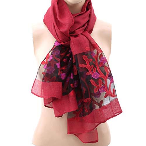 Canvivi - sciarpa da donna in pizzo traforato ricamato, lunga stampa, protezione solare, scialle alla moda per primavera ed estate, leggera e semplice accessorio red