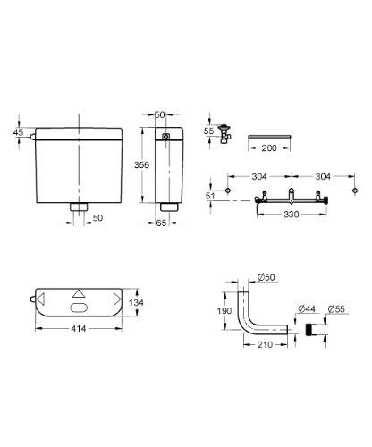 GROHE Spülkasten für WC , 6 - 9 Liter einstellbar , Start-Stopp Wassersparfunktion , weiß , Schwitzwasservollisoliert 37791SH0