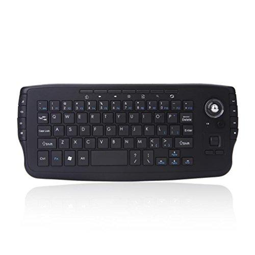 Ba Zha Hei de 2.4G Mini Teclado inalámbrico Multi-Media Functional Trackball Air Mouse de 2.4G Mini Teclado Multimedia con trackball de Diseño único Teclado Mini Teclado Metálico Ideal para Juegos