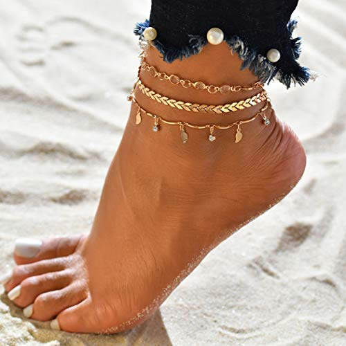 bc2f33d65 Simsly Beach Star   Moon Anklet Feuilles Tassel   Crystal Ankle Bracelet  Moon Foot Bijoux pour