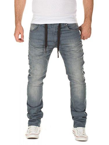 WOTEGA Herren Jeans Noah - Sweathose in Jeansoptik - Männer Jogg-Jeans Slim, Grau (Turbulence Grey 3R4215), W33/L32