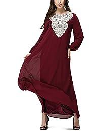 hibote mujeres musulmanas ropa con cordones sueltos de manga larga Vestido que las túnicas árabes más