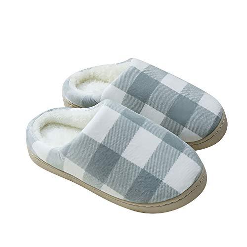 Achidistviq moda inverno donne uomo plaid caldo morbido anti-scivolo interno scarpe casa pantofole in cotone pantofole femmina maschio carino coreano versione studenti interni ed green 40-41
