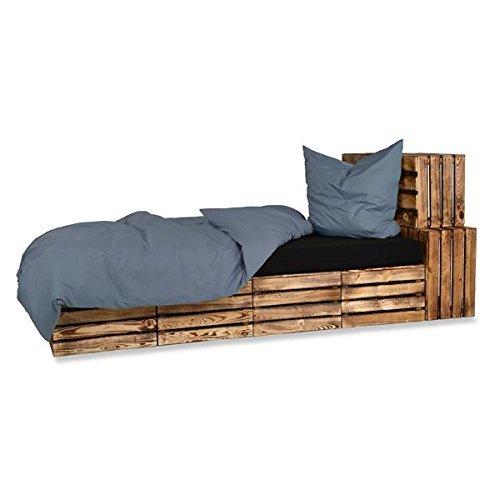 optidream 4-Teilige hochwertige Renforcé-Bettwäsche UNI-WENDE in JEANSBLAU einfarbig 2 x 135x200 Bettbezug + 2 x 80x80 Kissenbezug, 100% Baumwolle 1x GRATIS Baumwoll Kissenhülle (Jeans Blau)