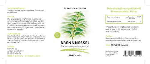 Brennnessel 180 Kapseln im 6 Monatsvorrat - Einführungspreis - Hochdosiertes Naturprodukt mit 450 mg Brennnesselblattpulver - Urticae folium - vegan - hergestellt in Deutschland -