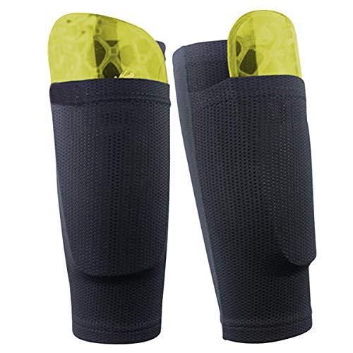 Dokpav Soccer Shin Guard Socken mit Tasche Ärme, Fußball Ausrüstung mit Taschen Kompressionswade Ärm (Teen - schwarz)