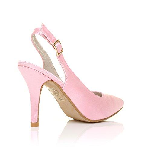 Stiletto Chaussures Mariage Escarpin à bride Talon Haut Arrière Satin Rose Layette Satin rose layette