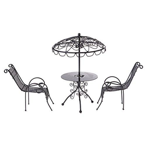 Baoblaze 2 Sätze 1/12 Puppenhaus Gartenmöbel   Miniatur Metall Tisch U0026  Stühle Set