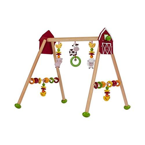 solini Spieltrapez Bauernhof - 5-stufig höhenverstellbar - Holztrapez mit rasselnden Figuren, Kugeln, Ringen & Glöckchen - bunt/Natur