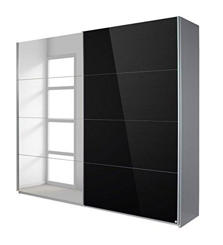 Rauch Schwebetürenschrank mit Spiegel 2-türig, Glaspaneele Schwarz, BxHxT 226x210x62 cm