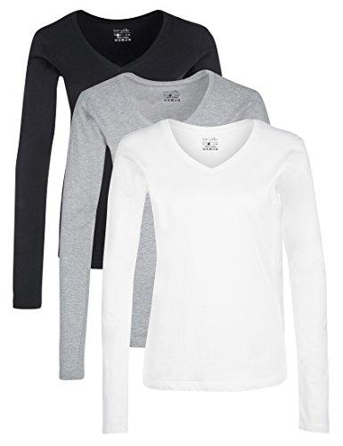 Berydale Damen Langarmshirt mit V-Ausschnitt, 3er Pack, Schwarz/Weiß/Grau, L