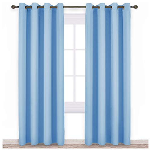 nicetown One Pair Solide Tülle Verdunklungsvorhänge (Regular), Textil, blau, W52 x L95
