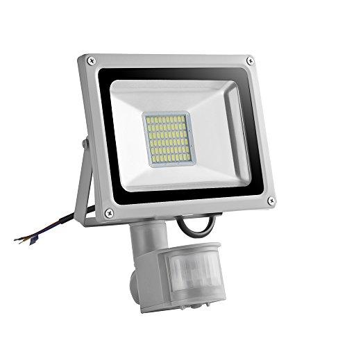 Himanjie LED Projektor Außen mit Bewegungsmelder verstellbar Licht Kaltweiß (6000K-6500K), wasserdicht IP65Für Garten, Hof, Terrasse, Square, (30W) FR 30.00 watts