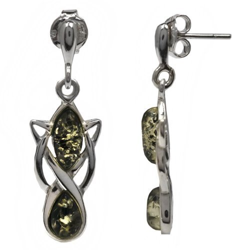 Noda - Orecchini in ambra verde e argento sterling, stile celtico