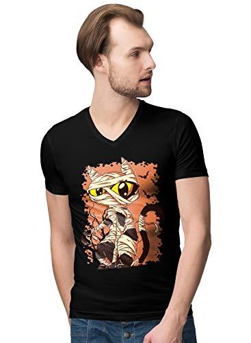 Cute Halloween Mummy Cat Herren V-Neck T-Shirt S