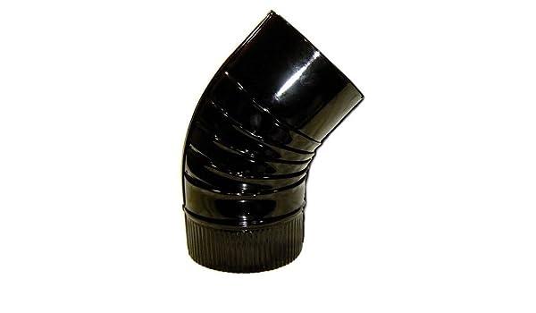 Ofenrohr Rohrbogen 45 Grad 150 mm schwarz emailliert Kaminrohr Pelletrohr Rohr