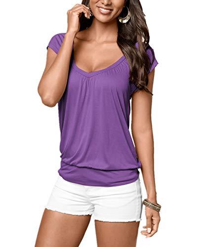Uniquestyle Damen Sommer T-Shirt Kurzarmshirt V-Ausschnitt Lässige Stretch Falten Bluse Tops Oberteil Baumwollshirt Blickdicht (M, Lila)