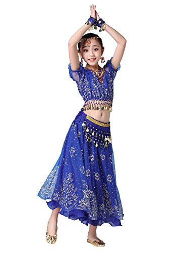 Bollywood indische Kinder Mädchen Volks bharatanatyam Bauchtanz blau Top Rock Zweiteilige Kinder Leistung Kostüm Kleid Outfits (130-155cm, Blau)