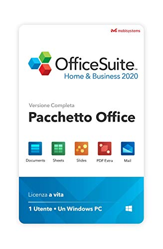 OfficeSuite Home & Business 2020 - Licenza Completa - Compatibile con Microsoft Office Word, Excel & PowerPoint e Adobe PDF for PC Windows 10, 8.1, 8, 7 (1PC/1User)