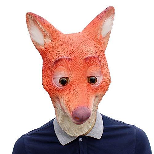 XIAOMAN Fox Kopf Maske Realistische Latex Gesichtsmaske Halloween Cosplay Kostüm Weihnachtsfeier Rolle Spielen Spielzeug ( Color : Red , Size : One Size ) (Red Fox Halloween-kostüm)