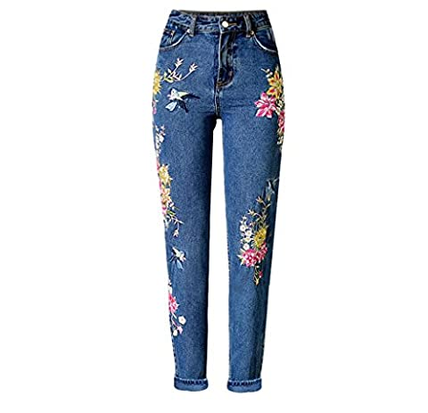 Byjia Femmes Jeans Denim Disco Taille Haute Stretchy Zippée.Poche Populaire Dimensionnelle Processus Lourd 3D Birdie Fleur Broderie Pantalon Droit Pantalon . Deep Blue . 34