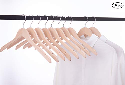 Cocomaya 44,5 cm Unfinished Natural Eco Wooden Kleiderbügel Mäntel Kleidung Hemden Kleiderbügel mit 360 Swivel Hook, Packung mit 10