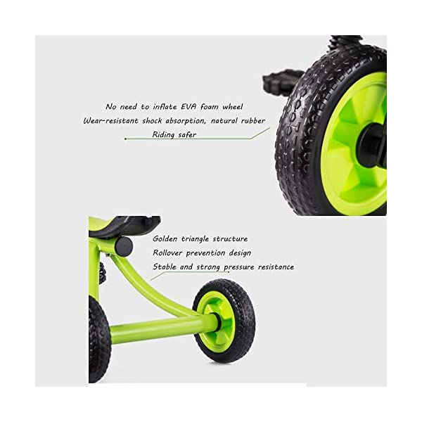 BGHKFF Childrens Tricycles 2 To 5 Years Anti-slip Pedals Kids Tricycle The Seat Can Be Adjusted Back Child Trike Maximum Weight 25 Kg,Green BGHKFF ★Material: Steel frame + TPR plastic, suitable for children aged 2-5, maximum weight 25 kg ★ Size: 57*25*37cm/22.4*9.8*14.5inchs ★Features: The frame is made of steel, high-strength argon arc welding technology, strong and firm; the front fork of the handlebar is integrated, anti-bias, anti-dislocation, anti-loose; rear-wheel quick-disconnect design, easy to disassemble; 5