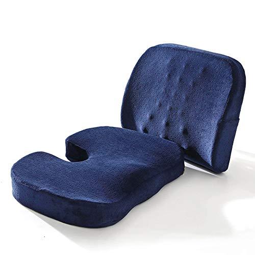 SEGIBUY Lendenwirbelstützen-Rückenkissen und Sitzkissen, orthopädisches Memory Foam-Kissen mit verstellbarem Gurt, ideal für Computer-Bürostühle und Autositze -