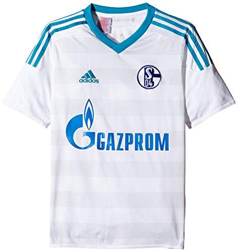 adidas Herren Kurzarm Auswärtstrikot Schalke 04 Replica, White/Bold Aqua/Clear Grey, L, S12372