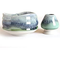 Goodwei Matcha Schale für japanische Teezeremonie (mit Besenhalter, Sumi)