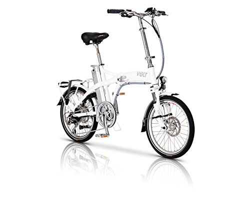 Volt Metro Folding Electric Bike 40+ Miles Lithium Polymer 1000+ Charges 2 Yr Warranty (White)
