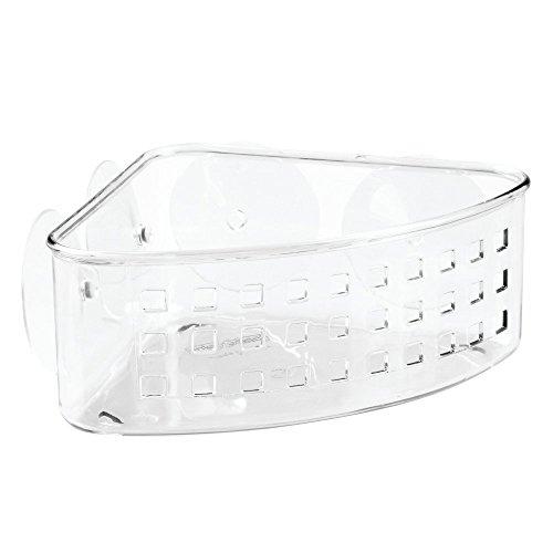 InterDesign Basic Eckduschkorb, Duschkorb ohne Bohren aus Kunststoff mit Saugnäpfen, durchsichtig