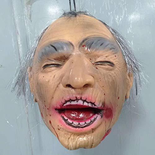 WSJDE Hängender gebrochener Kopf Halloween Horror Prop Hängender Kopf Knifflige Requisiten Kostüm Party Hängender Kopf Dekoration Gestorbene Menschen Streich Prop