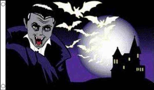 1.52 x meters 0.91 meters (150 cm x 90 cm), Halloween Dracula Fledermaus Burg 100% Polyester, Material Fahne Picture