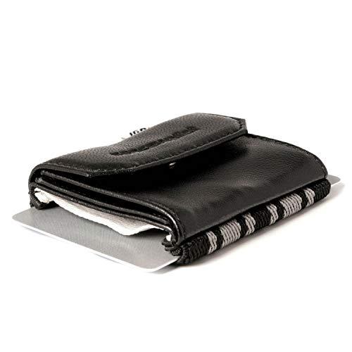 SPACE WALLET - pequeño, compacto, con estilo, para cada gusto - banda elástica y flexible más un bolsillo de cuero cerrado por un costado - existen muchas versiones diferentes - obviamente más pequeño que una cartera convencional con el mismo conteni...