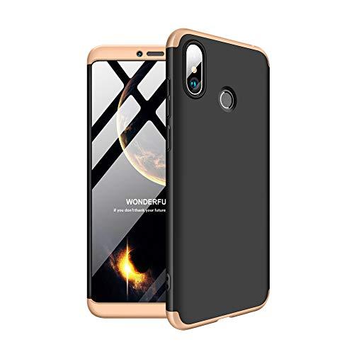 Aidinar Xiaomi Mi MAX 3 Funda, Bumper y Anti-Scratch, Estuche Rígido de 360 Grados Estuche Completo para Xiaomi Mi MAX 3 (Negro + Oro)