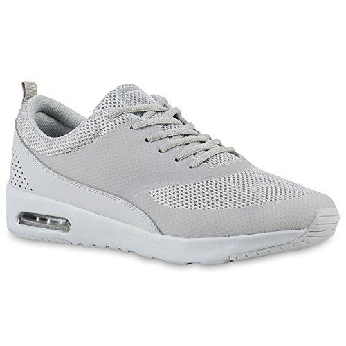 Damen Sport Runners Sneakers Lauf Fitness Trendfarben Sportliche Schnürer Schuhe 142372 Grau Grau 42 | Flandell®