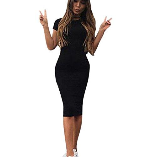Flapper Sexy Klassische Kostüm - Kleid Damen,Binggong Frauen Fashion Sexy Solid Kurzarm Dünnes Kleid Damen Knielanges Klassische Unterkleid Frauen Sexy Unterrock Miederkleid mit Trägern (Sexy Schwarz, XL)