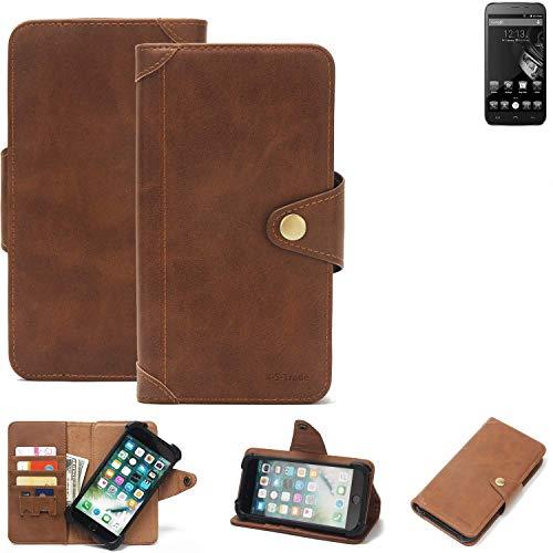 K-S-Trade® Handy Hülle Für Homtom HT6 Schutzhülle Walletcase Bookstyle Tasche Handyhülle Schutz Case Handytasche Wallet Flipcase Cover PU Braun (1x)