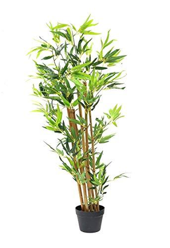 Spetebo Bambus Kunstpflanze im Blumentopf - 115 cm - Deko Pflanze Zimmerpflanze künstlich Kunstbaum