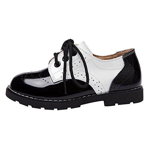 Babys Kleine Kinder Jungen Mädchen Schnürschuhe Mode PU-Leder Schnürer Low-Top Elegant Party Schuhe Brogue Freizeitschuhe Gr.21-31 (Walker Leben Schuhe)