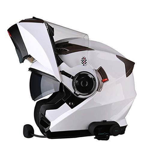 OUTO Abnehmbarer Helm Vier Jahreszeiten Bluetooth-Funktion Anti-Fog-Doppellinse Motorradhelm Halb Full Cover Ventilation Design (Farbe : Weiß, größe : XXL)