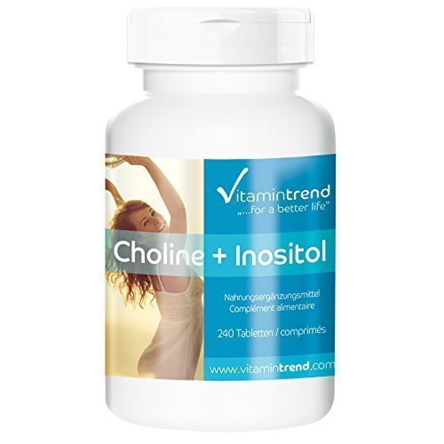 Choline 100mg + Inositol 250mg 240 comprimés - Flacon avantageux pour 8 mois