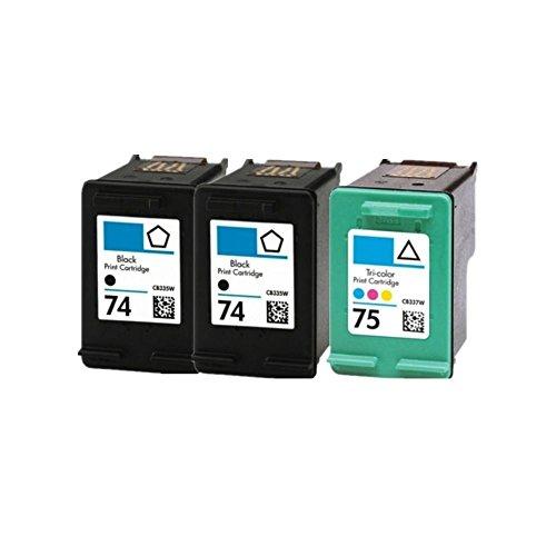 75 Ersatz (caidi 3pk HP 74HP 75Kompatible Tintenpatrone Ersatz für Officejet J5780J6480Photosmart C4280C4480C4580C5280C5580Deskjet D4260D4360)