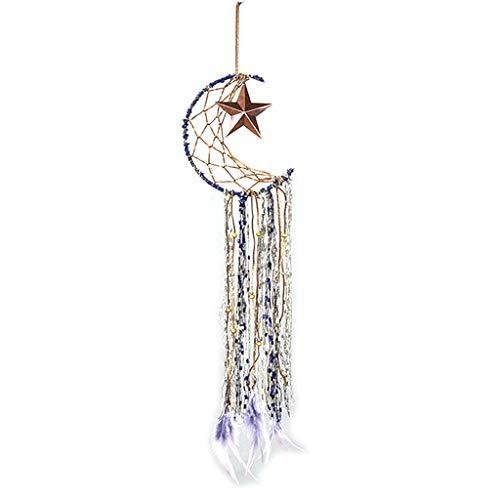 Huyiko Dream Catcher Moon Star Traumfänger, handgefertigt, Feder, traditionell, Blau, Traumfänger, Dekoration für Kinder, Schlafzimmer, Ornament, Handwerk
