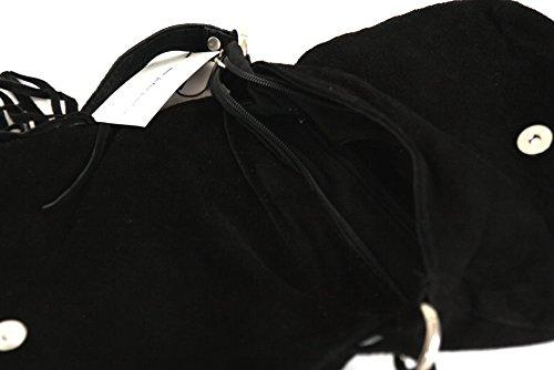 Messenger / Borsa a tracolla di velluto genuino / pelle scamosciata, Minibag, Italy Nero.