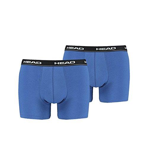 HEAD Basic Boxer 2P, Calzoncillos/Boxer para Hombre, Multicolor (Azul/Negro), M, Pack de 2