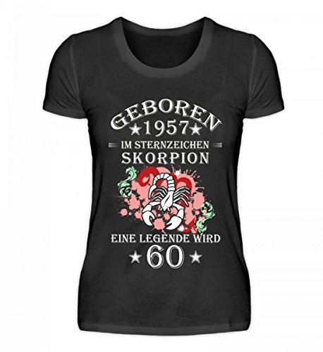Shirtee Hochwertiges Damen Organic Sternzeichen Skorpion Wird 60 Schwarz